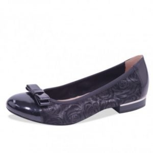 Caprice flat shoes black roses combination