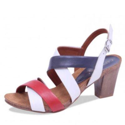 Caprice sandal white/navy/red