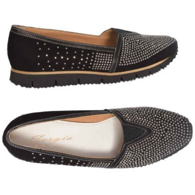 Sergio moccasin, black studed