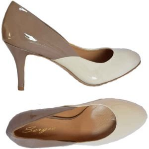 Sergio pumps patent ivory+taupe 7604