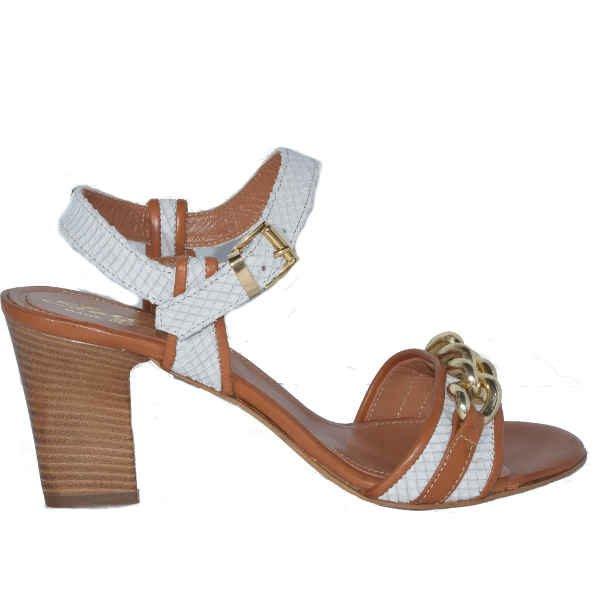 7764 retille stampato bianco sauvage cuoio. 600x600 - Sergio sandal off white reptile print +tan+ gold chain 7764
