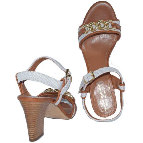 7764 stamp bianco cuoio 600x600 - Sergio sandal off white reptile print +tan+ gold chain 7764