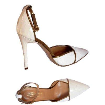 Sergio pointed high heels Off white+bronze 9614