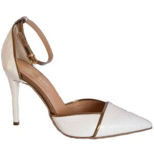 Sergio pointed high heels Off white+bronze 9614
