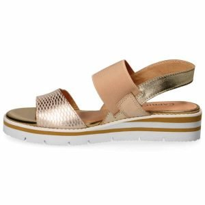 Gold light weight sandals by Caprice