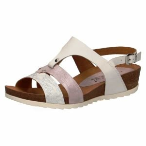 Rose gold white and silver combination sandal by Caprice