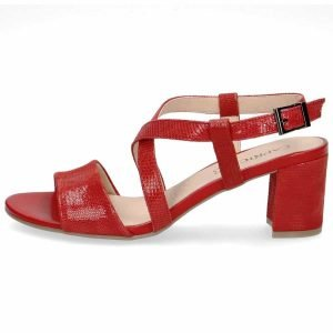 Red reptile sandals by Caprice