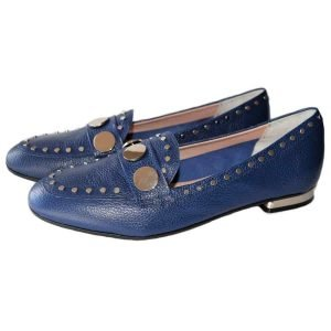 blue loafers made in Italy