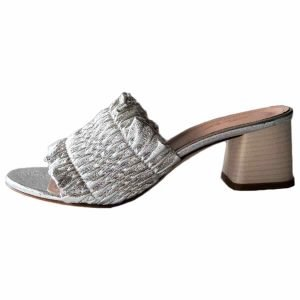 Open toe silver mules made in Italy