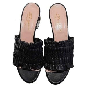 Open toe black mules made in Italy