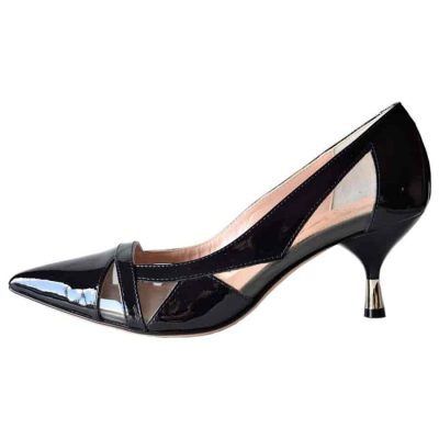 Patent navy blue pumps made in Italy