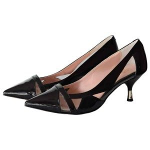 patent black pumps made in Italy