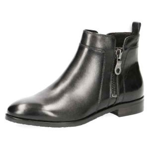 Double zip black nappa ankle boots by Caprice