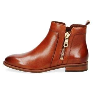 Double zip tan nappa ankle boots by Caprice