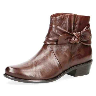 Caprice brown soft nappa leather short boots