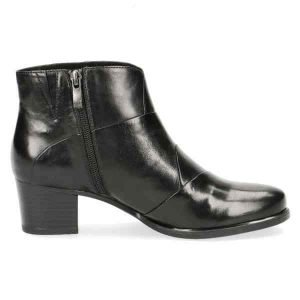 Black soft nappa leather ankle boots by Caprice
