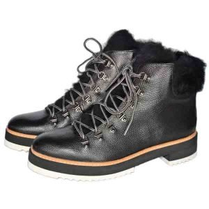 Sergio lace up ankle boots with natural fur