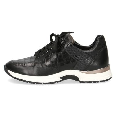 Black crock leather sneakers by Caprice