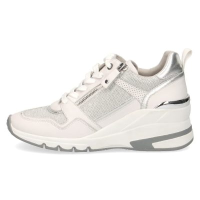 Heeled leather sneakers