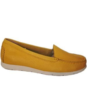 deer skin loafer metallic yellow