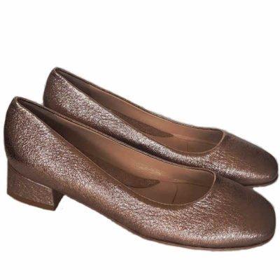 Sergio shoes crack metallic copper